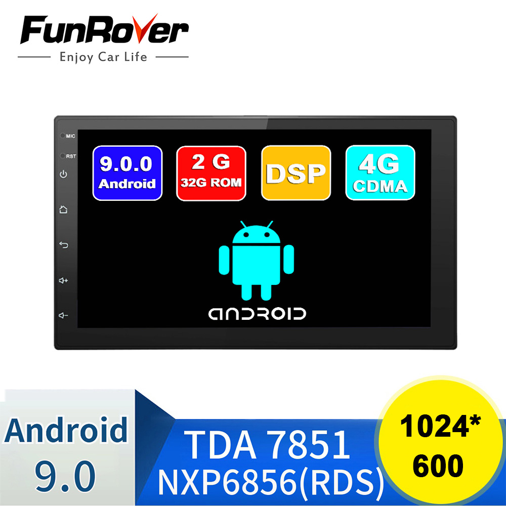 FUNROVER 2 Din Car Multimedia player android 9.0 Car DVD Radio for Universal for Nissan peugeot toyota doble din Autoradio 2GRAM image