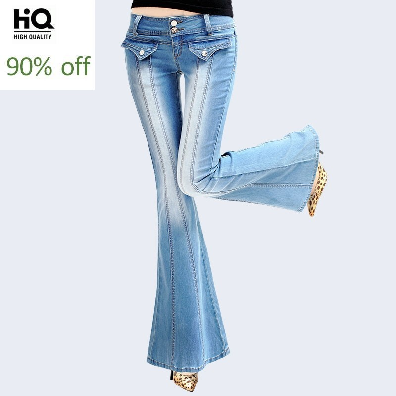 Autumn Big Horn Jeans Female High Grade Super Bell Bottom Jeans Woman Fashion Big Flared Denim Trousers Washed Roupas Feminina