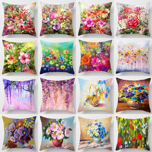 Multicolored Floral Pillow Cover Pillow Covers Decorative Throw Pillow Covers Cojines Decorativos Para Sofa Home DecorHome Decor home decorative sofa throw pillows plush solid color cushion pillow cojines decorativos para sofa pillow covers