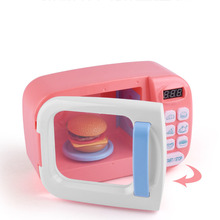 Kid Kitchen Cooking Toy Simulation Miniature Kitchen Toy Pretend Play Microwave-Toys Electric Toys Light Rotate Play House Toy new appliances children s puzzle play house kitchen toys multi function vacuum cleaner electric iron juice machine play kitchen