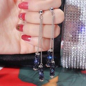 New Fashion Arrival Crystal Classic Geometric Long Dangle Earrings For Woman Jewelry Korean Blue Rhinestone Tassel Earrings Gift