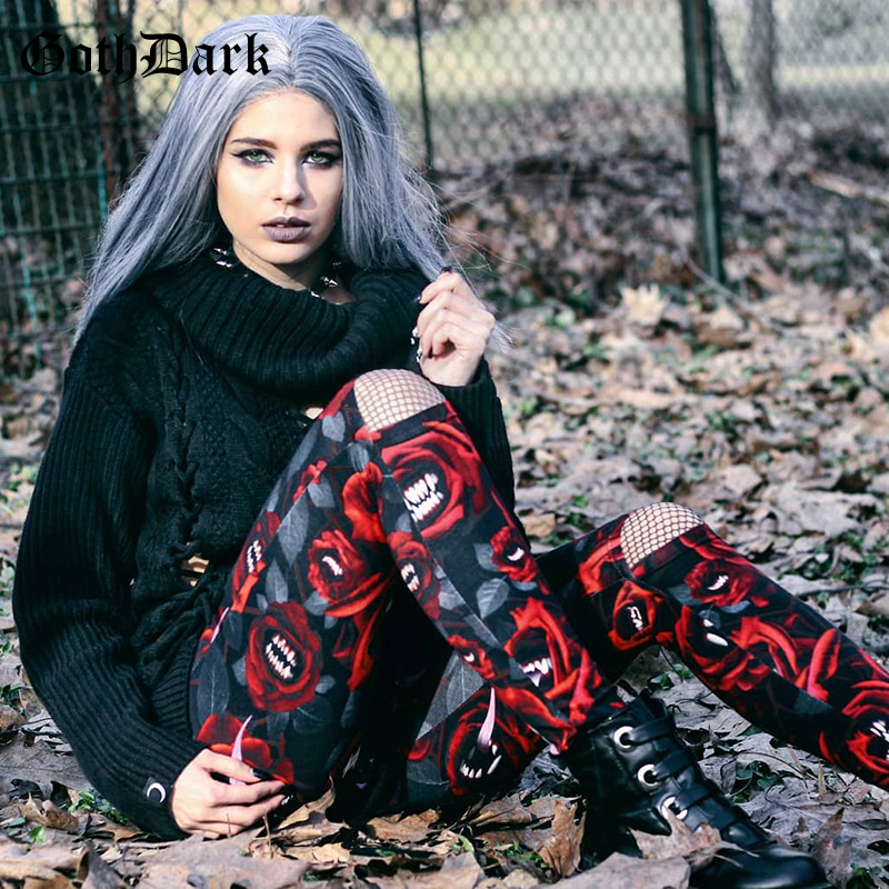 Goth Dark Vintage Grunge Print Gothic Women 39 s Pants Harajuku Punk Hollow Out Skinny Trousers Autumn 2019 Fashion Aesthetic Hole in Pants amp Capris from Women 39 s Clothing
