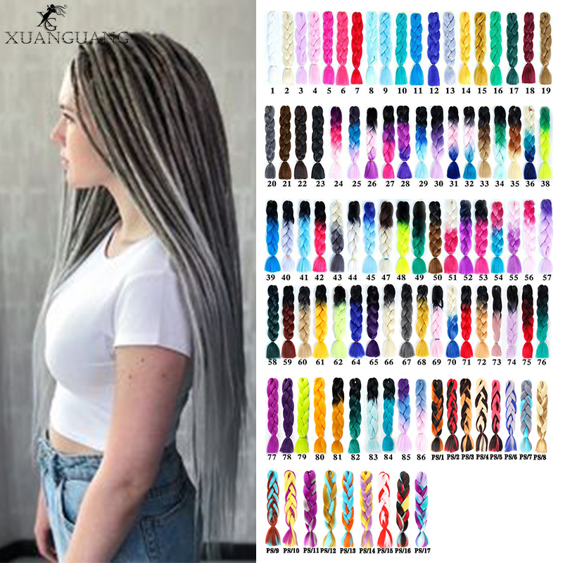 XUANGUANG Jumbo Braids Long Strands Crochet Braid Synthetic Braiding Hair Extensions For Womanand Children