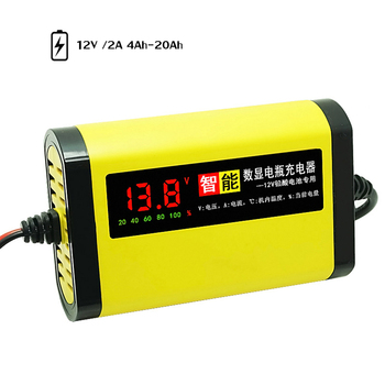 Car Motorcycle Battery Charger 12V 2A Full Automatic 3 Stages Lead Acid AGM GEL Intelligent LCD Display Battery Charger image