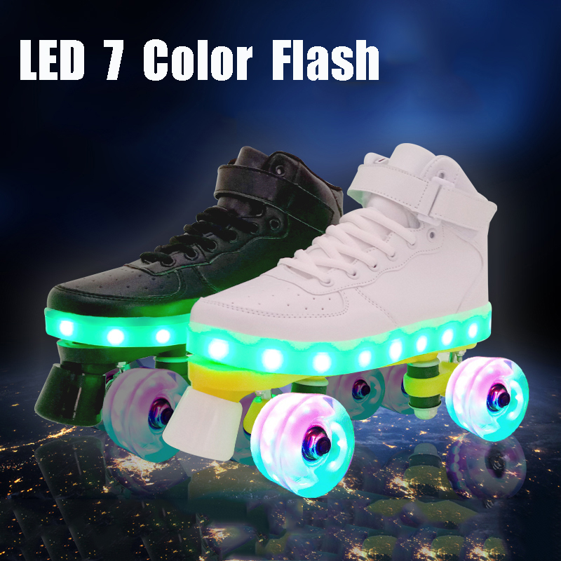 Led Rechargeable 7 Colorful Luminous Double Row 4 Wheel Roller Skates Outdoor Men Women Shoes