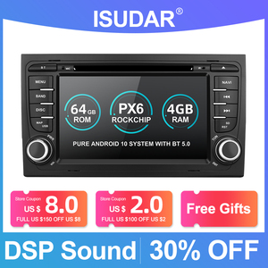 Image 1 - Isudar PX6 2 Din Android 10 Car Multimedia Player GPS DVD For Audi/A4/S4 2002 2008 Automotivo Radio Hexa Cores RAM 4GB ROM 64GB