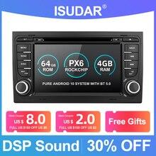 Isudar PX6 2 Din Android 10 Máy Nghe Nhạc Đa Phương Tiện GPS DVD Cho Xe Audi/A4/S4 2002 2008 automotivo Đài Phát Thanh Hexa Nhân RAM 4GB ROM 64GB