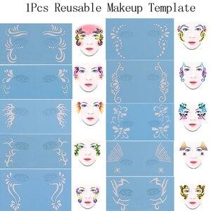 1pcs DIY Reusable Soft Face Body Paint Airbrush Glitter Tattoo Stencil Facial Makeup Template Drawing Tattoo Body Painting(China)