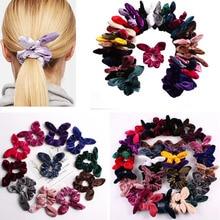 Velvet Hair Scrunchie Girls/Women Bunny Ear Knot Bow Bands Rabbit Tie Ponytail Holder Scrunchy