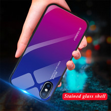 9H Gradient Tempered Glass Case For iPhone 7 XS MAX XR X Cover Colorful Glossy Phone 8 6 6s Plus Fundas