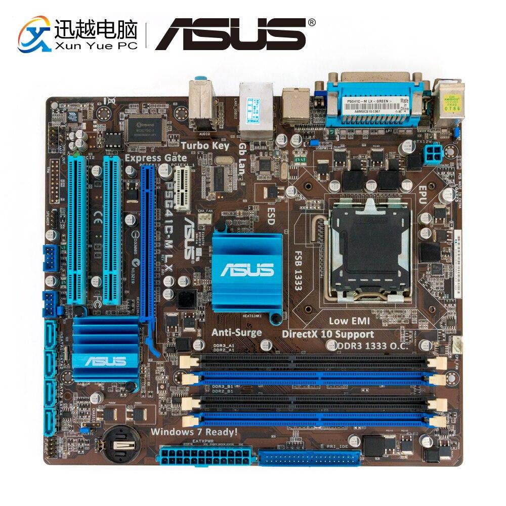 Asus P5G41C-M LX Desktop Motherboard G41 Socket LGA 775 For Core 2 Duo DDR3 8G SATA2 VGA uATX Original Used Mainboard