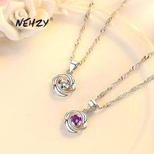 NEHZY-Colgante de Plata de Ley 925 para mujer, joyería de moda de alta calidad con circonita de cristal giratoria, collar de amor de 45CM de longitud