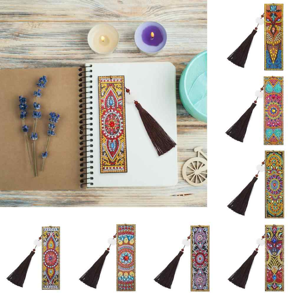 Special Shaped DIY Diamond Painting Leather Bookmark Tassel Book Marks Book Page Mark for Books School Office Supplies  Gift