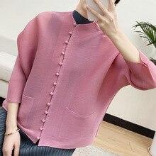 Button Shirt Cardigan Tunics Pleated Miyake Jacket Pink Blouses Spring Loose Chinese-Style