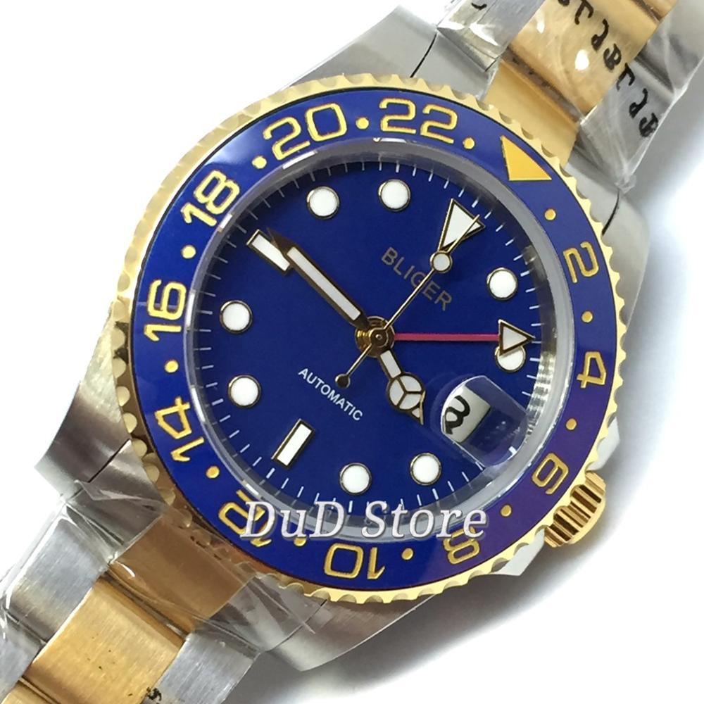 Bliger 40MM Golden Plated steel Case Blue Dial GMT Function Ceramic Bezel Sapphire Glass Automatic Movement Men's Watch