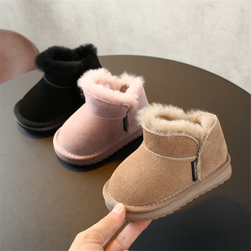 DIMI 2019 Winter Warm Kids Baby Boots Boy Girl Toddler Shoes Suede Leather Waterproof  Non-slip Plush Child Snow Boots