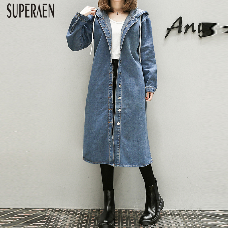 SuperAen 2019 Autumn New Denim   Trench   Coat for Women Pluz Size Wild Casual Ladies Windbreaker Hooded Women Clothing