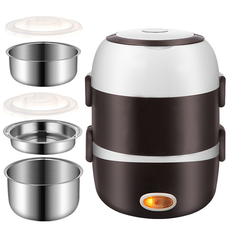 220V Mini Electric Rice Cooker Stainless Steel 2/3 Layers Steamer Portable Heating Lunch Box Food Container Warmer Multicookers
