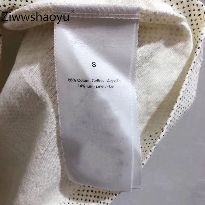 Ziwwshaoyu 2020 nueva camiseta de manga corta de algodón y lino con estampado de patrón de moda de verano de alta calidad para mujer - 6