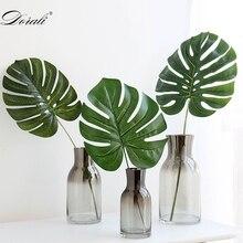 Дешевые пластиковые цветы Искусственные Поддельные монстера Пальмовые Листья зеленые растения Свадебные DIY декорирование лист растений 3 размера