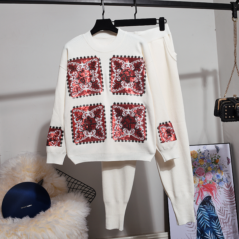 Knit Set Women Pullover Tops Fashion Personality Sequin Long-sleeve knitted Sweater + Small feet Pants Two Piece Set Women Tide