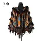 CK708 Real punto conejo chal poncho estola con borlas encogimiento de hombros capa bata tippet abrigo con Cuello de piel de mapache mujeres - 1