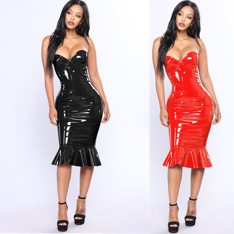 S-6XL Plus Size Red Black PVC Wet look Leather Strapless Ruffle Mermaid Bodycon Dresses Women Sexy Off Shoulder Club Party Dress image