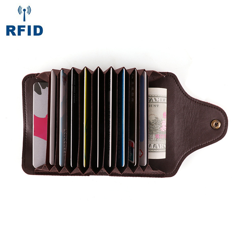 Candy-Colored Cute Women's Wallet RFID Anti-Theft Brush Card Bit More Leather Card Holder Multi-functional Purse Document Packag