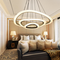 Led ceiling chandelier for dining room living room chandelier rings white coffee color pendant lamp with remote control chandelier for kitchen 50% discount