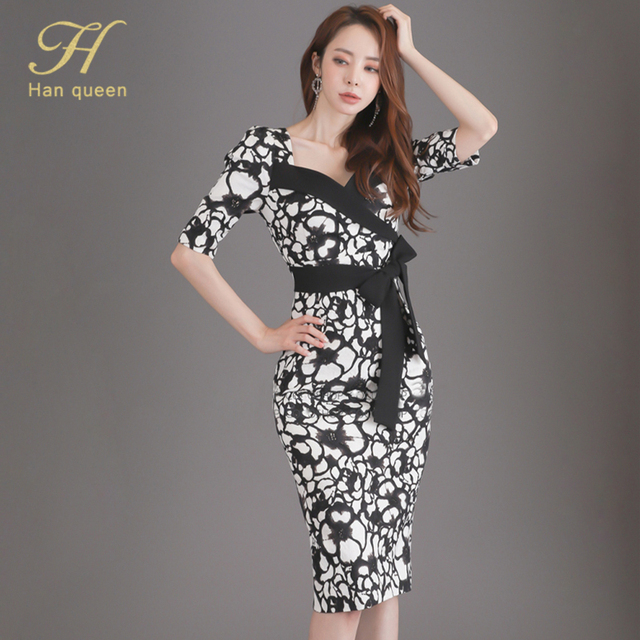H Han Queen Flower Print Fashion Pencil Dress Women Casual Dresses Office Lady Evening Party Sexy Elegant Simple Series Vestidos 3