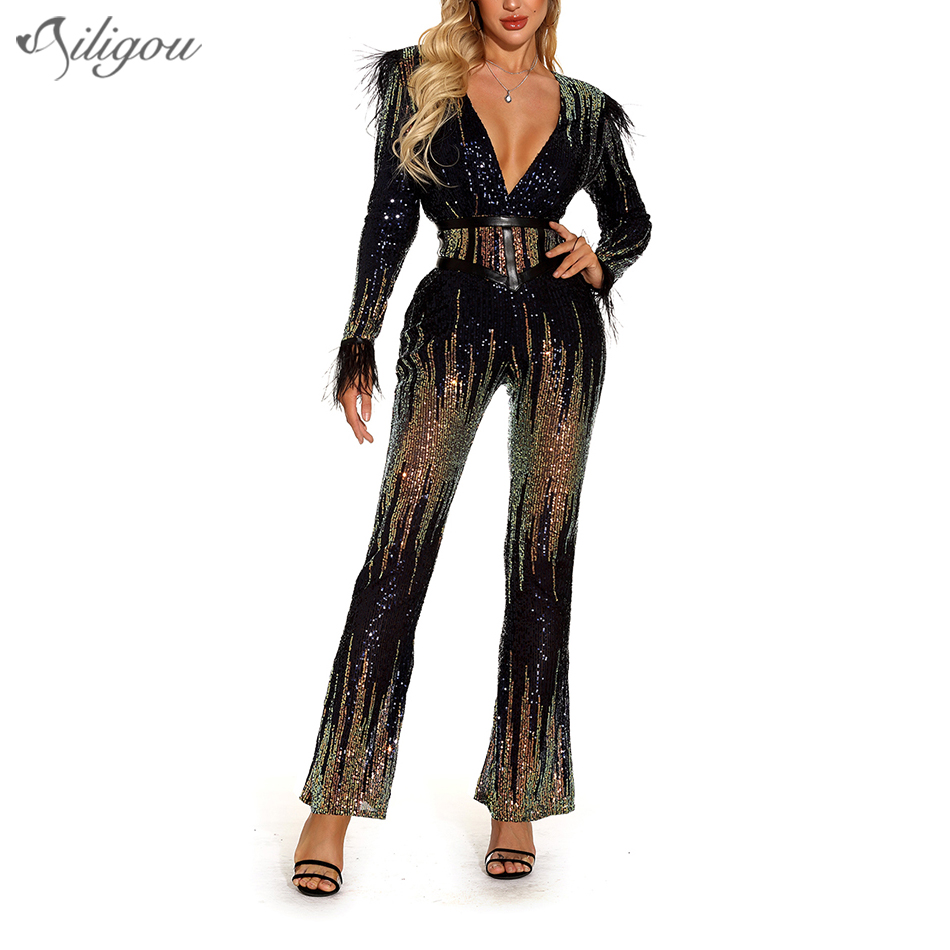 New Ladies Jumpsuit V-Neck Belt Sequin Feather Jumpsuit Sexy Bodysuit Elegant Club Celebrity Party Jumpsuit Vestidos