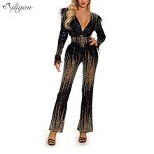 New Ladies Jumpsuit V-Neck Belt Sequin Feather Jumpsuit Sexy Bodysuit Elegant Cl