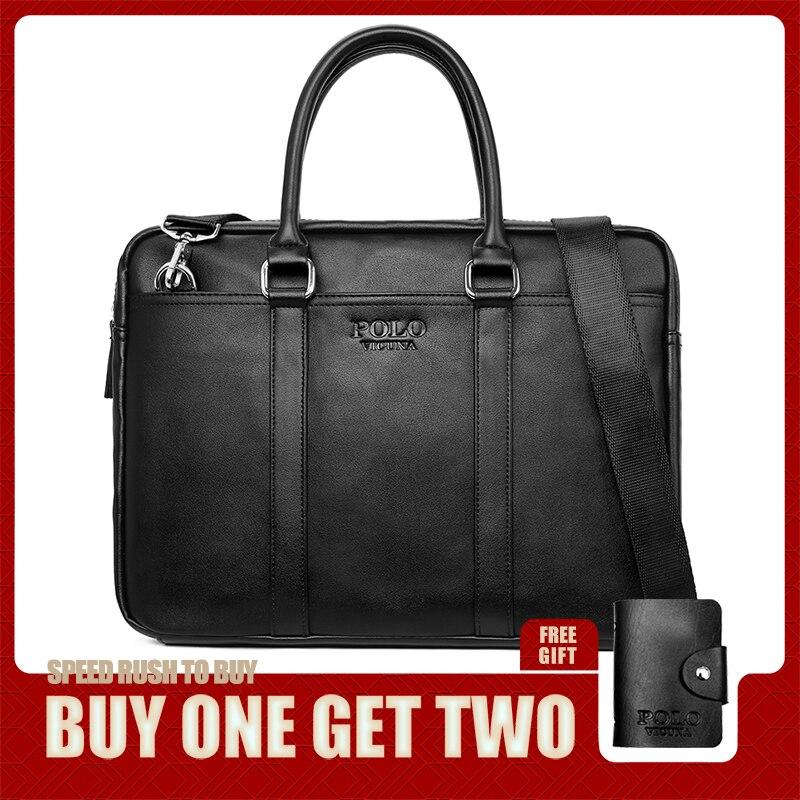 VICUNA POLO Fashion Soft Leather Mens Shoulder Bag Large Capacity Laptop Briefcase Bag For Male Cross Body Sling Handbag