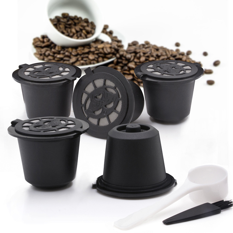 5pc Coffee Capsule Filter Cup For Nespresso Machines Reusable Spoon Brush Refilling Filters Baskets Kitchen Accessories 3 Color