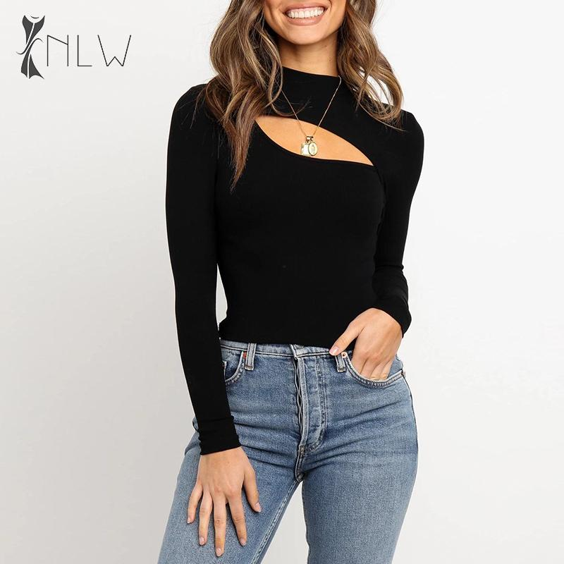 NLW Casual Knitted Sweater T Shirt Women 2019 Autumn Winter Ribbed Turtleneck T-shirt Long Sleeve Sexy Cut Out T-shirt Plus Size