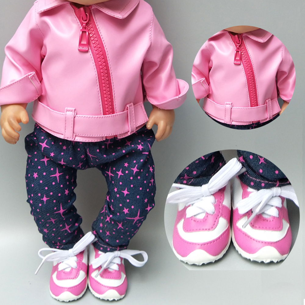 Doll Clothes For 43cm Born Baby Doll Zipper Clothes Pink PU Leather Doll Coat For 17 Inch Baby Doll Jacket Winter Clothes