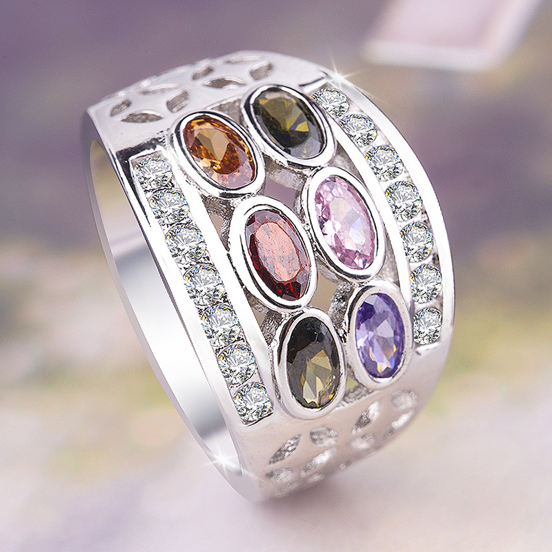 6 Colour Rainbow Elliptical Austrian Crystal Ring Bohemia 925 Silver Ring CZ Olive Emerald Zircon Travel Jewelry Exquisite Ring