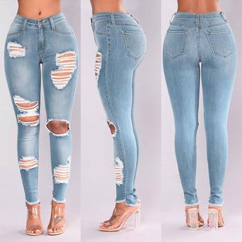 Jeans Women Fashion Denim Hole Female High Waist Stretch Slim Sexy Pencil Pants  jeans for women jean femme джинсы женские 2020 джинсы s oliver джинсы rick slim graue stretch jeans