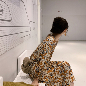 Image 3 - 2020 الربيع تصميم فساتين جميلة الأزهار ملابس منقوشة بكم طويل الخامس الرقبة الأصفر مزاجه سيدة فستان Vintage كوريا نمط 12520