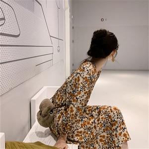 Image 3 - Mùa Xuân Năm 2020 Thiết Kế Đẹp Đầm In Hoa Tay Cổ Vàng Tính Khí Nữ ĐầM Vintage Phong Cách Hàn Quốc 12520