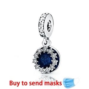 Authentic 100% 925 Silver Beads Inspirational Stars & Blue Enamel Dangle Charms fit Original Pandora Bracelets Women DIY Jewelry