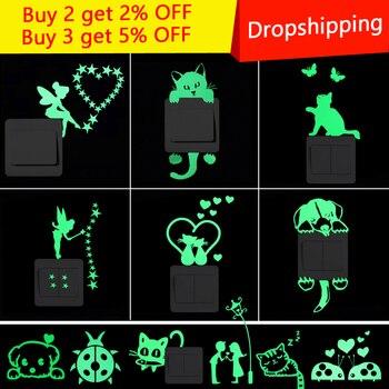 Pegatina de interruptor luminoso de dibujos animados que brilla en la oscuridad pegatinas de pared decoración del hogar niños habitación decoración pegatina gato Hada luna estrella