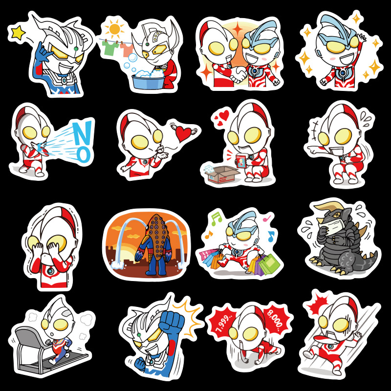 50Pcs Pvc Waterproof Cartoon Anime Ultraman Stickers for Laptop Luggage Children DIY Playing Stickers Classic Toys Gifts