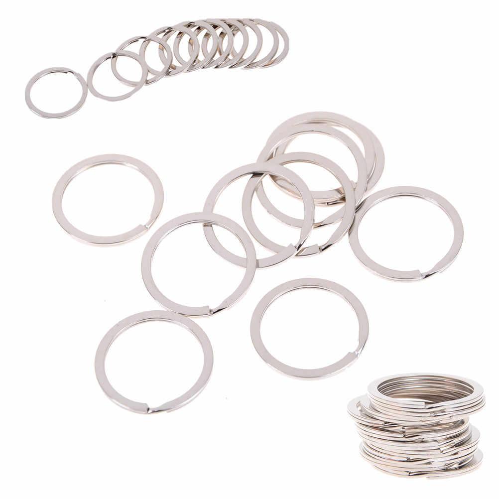 10 pçs/lote DIY Dividir Anel Chave Chaveiro Chave Anel de Metal Prata Nickel 25 milímetros Conectores de Aço Inoxidável
