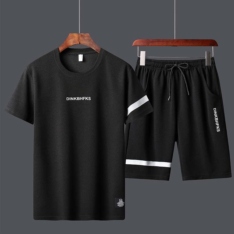 2019 Summer New Style Teenager Sports Crew Neck Printed T-shirt Leisure Suit-Style Thin Sports Set Men's