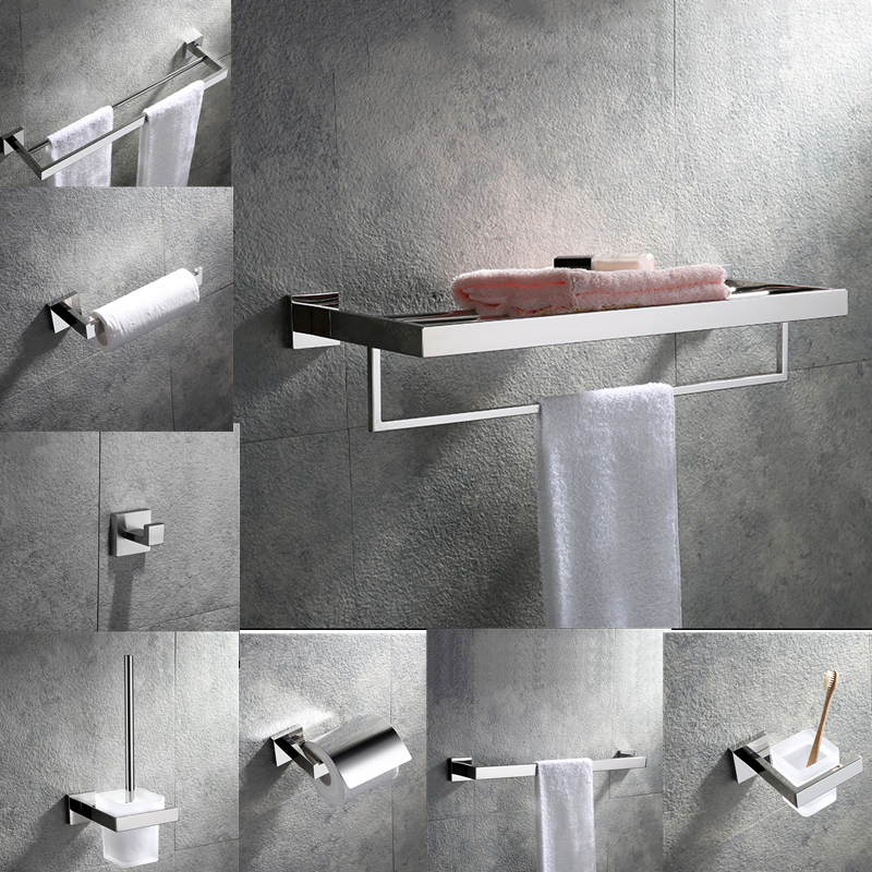 Modern Chrome Bathroom Accessories 304 Stainless Steel Soap Dish Holder Bathroom Gadgets Towel Shelf Free Shipping From Brazil