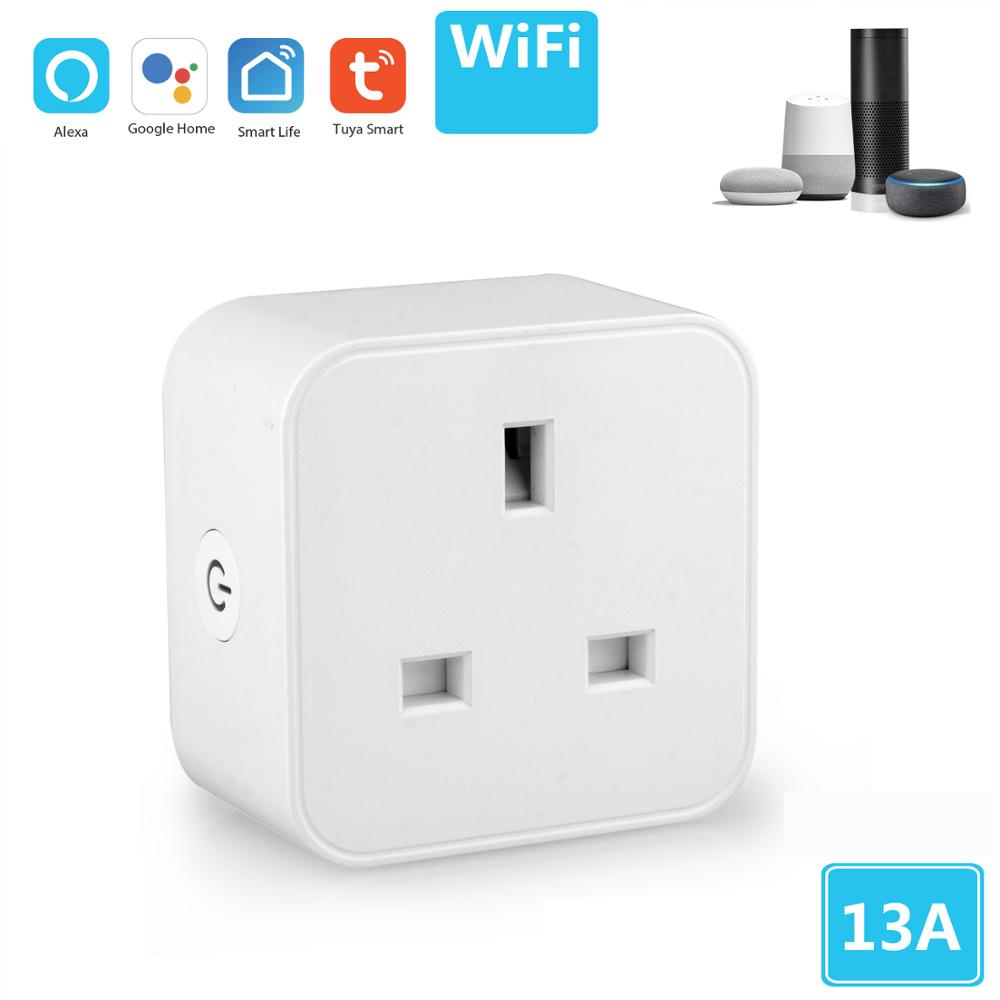 Tuya UK Wifi Smart Plug Socket Tuya Google Home Alexa Smart Life App Remote Control Wifi Socket UK Singapore Type