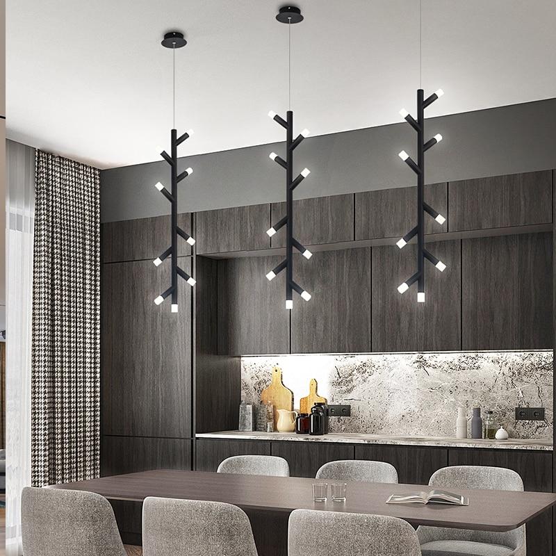 Современный светодиодный светильник-люстра, скандинавские черные/коричневые офисные подвесные лампы, подвесные светильники для гостиной