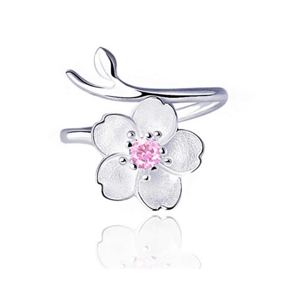 เงิน 925 เครื่องประดับเพทายสีม่วงเชอร์รี่แหวนแฟชั่นแหวนเงินงานแต่งงาน Elegant อุปกรณ์เสริม