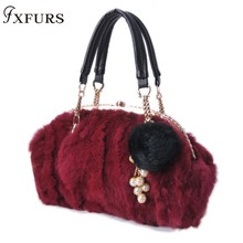 2019 New Real Fur Rabbit Skin Real Rabbit Fur Brand Casual Shoulder Bag for Women Handbag Ladies Fashion Messenger Bag Diamond цена